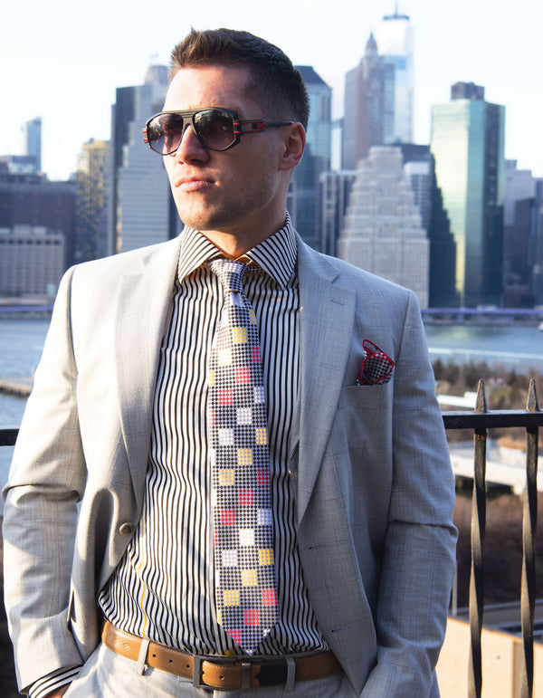 Steven Land | Moretti | Faded Silver Checkerboard 3 Piece Suit