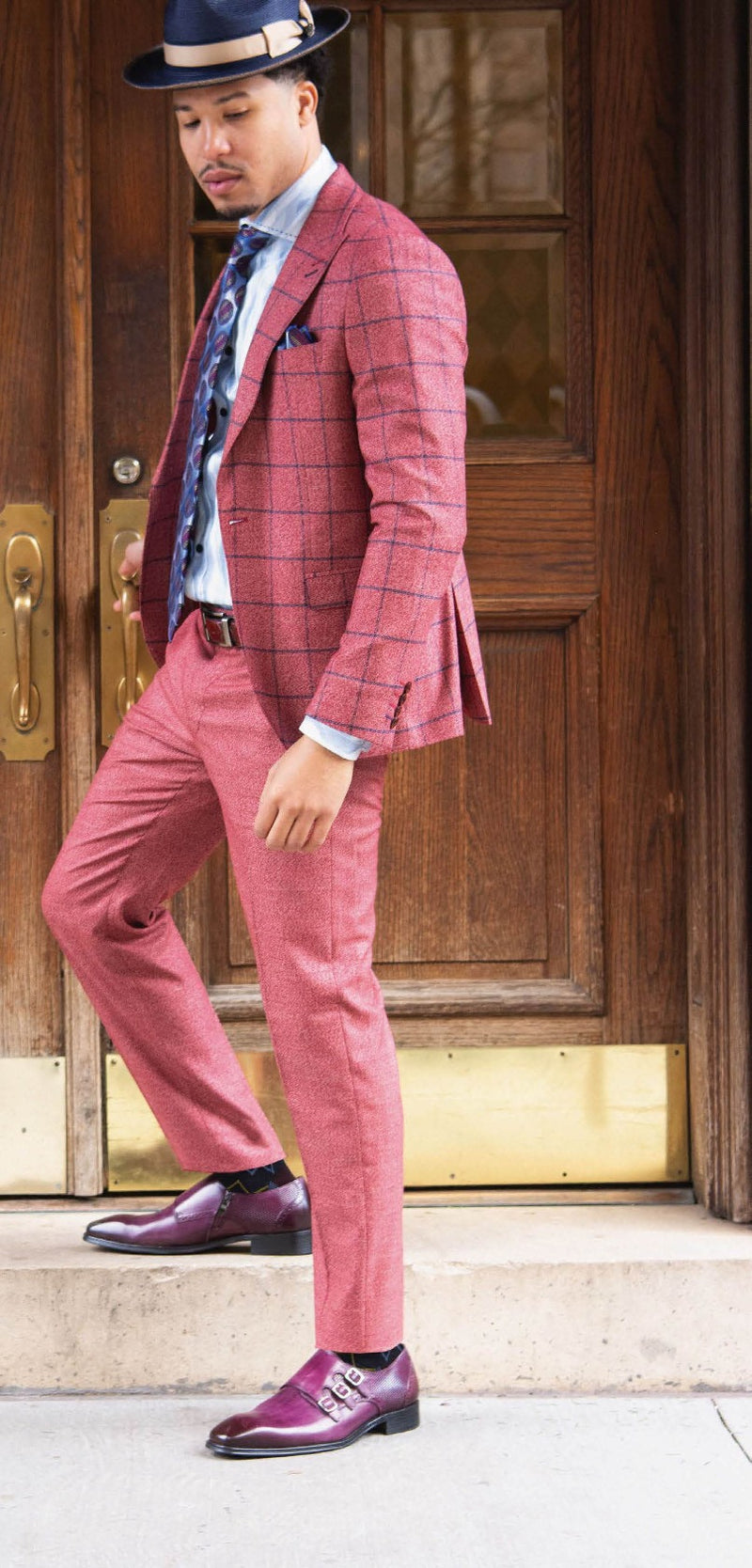 Steven Land | Ares | Windowpane Check 2 Piece Suit | Slim Fit | Playboy Berry