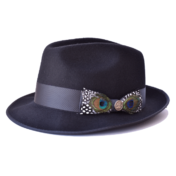 Steven Land Hat Guilano Collection  Color Black With Peacock Feather