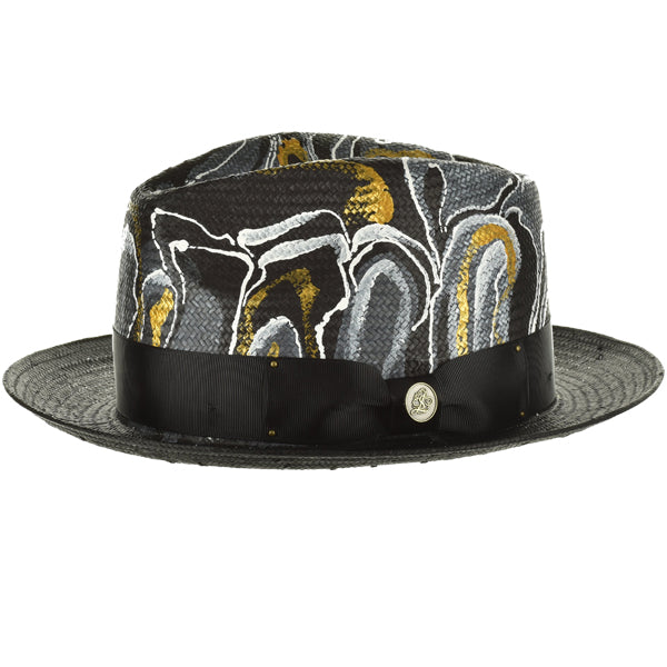 Steven Land Hand Painted Hat Monte Carlo Color Black/White/Gold