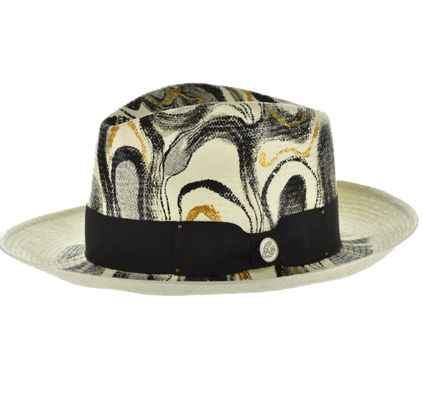 Steven Land Hand Painted Hat Monte Carlo Color Netural/Grey/Gold
