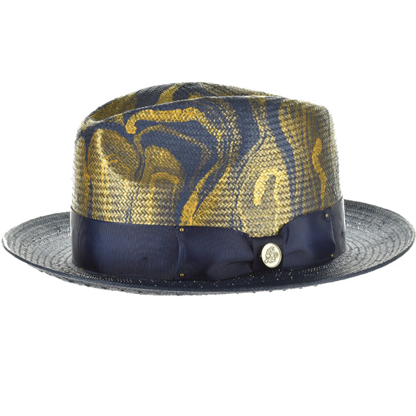 Steven Land Hat | Hand Painted Hat | Monte Carlo | Navy/Cognac/Gold