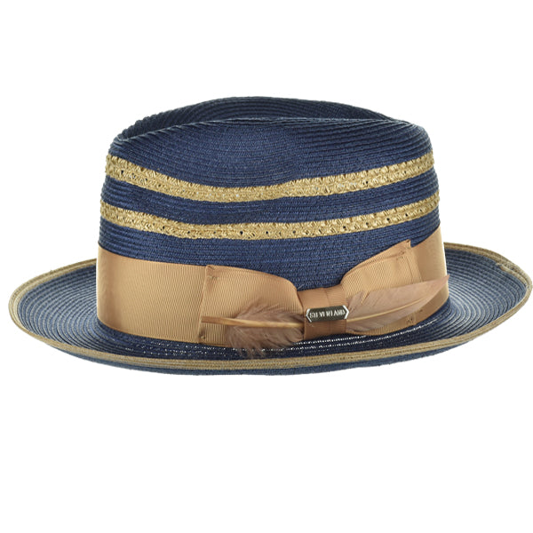 Steven Land Elite Hat | Roman Collection | Navy/Cognac