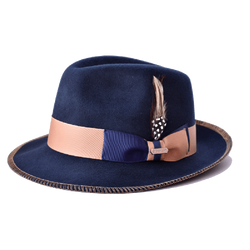 Steven Land Hat Saverio Collection Color Navy Blue/Camel
