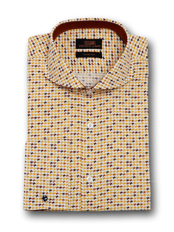 Dress Shirt | TA1712 | Classic Fit | 100% Cotton | Novelty French Cuff | Point Collar with Collar Bar | Almond