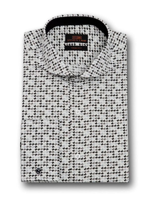 Dress Shirt | TA1712 | Classic Fit | 100% Cotton | Novelty French Cuff | Point Collar with Collar Bar | Black/White
