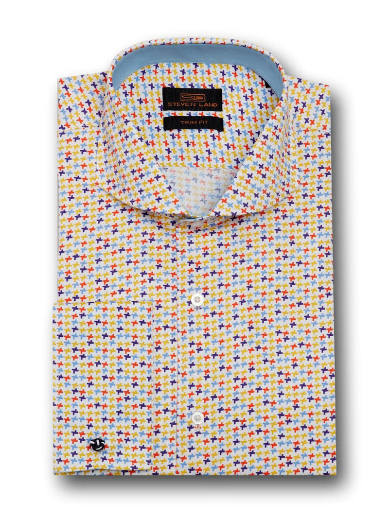 Dress Shirt | TA1712 | Classic Fit | 100% Cotton | Novelty French Cuff | Point Collar with Collar Bar | Multi