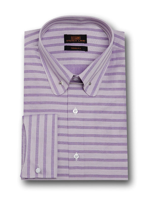 Unconventional Collar Bar Dress Shirt | Purple | TA1721