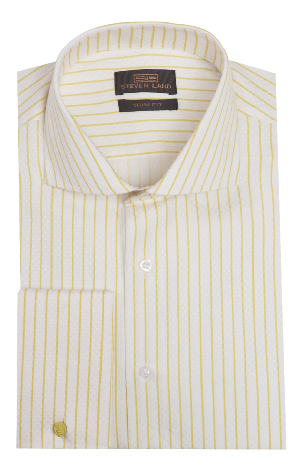 Dress Shirt | TA1737 | Trim Fit | 100% Cotton | Wide Spread Collar | French Cuff | Yellow