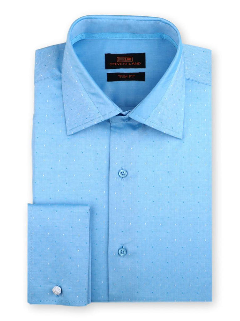 Steven Land Dress Shirt Trim Fit 100% Cotton French Cuff Spread Collar Color Blue