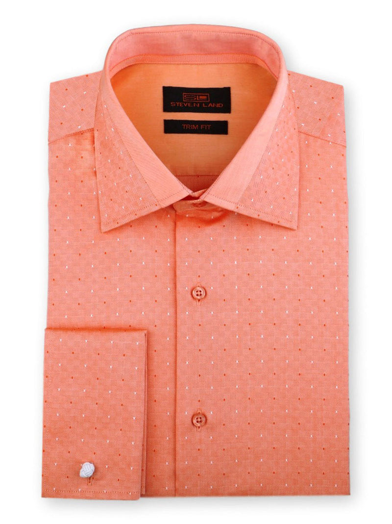 Steven Land Dress Shirt Trim Fit 100% Cotton French Cuff Spread Collar Color Peach