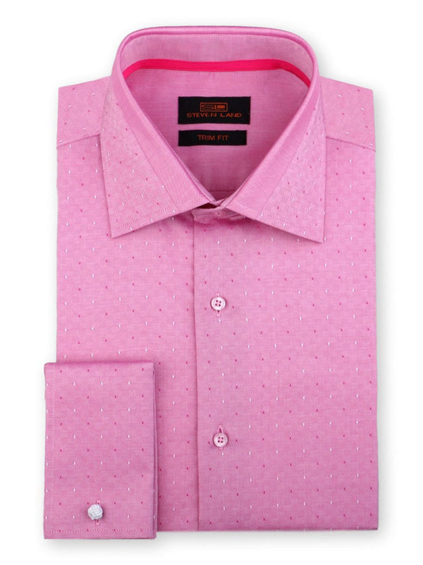 Steven Land Dress Shirt Trim Fit 100% Cotton French Cuff Spread Collar Color Raspberry
