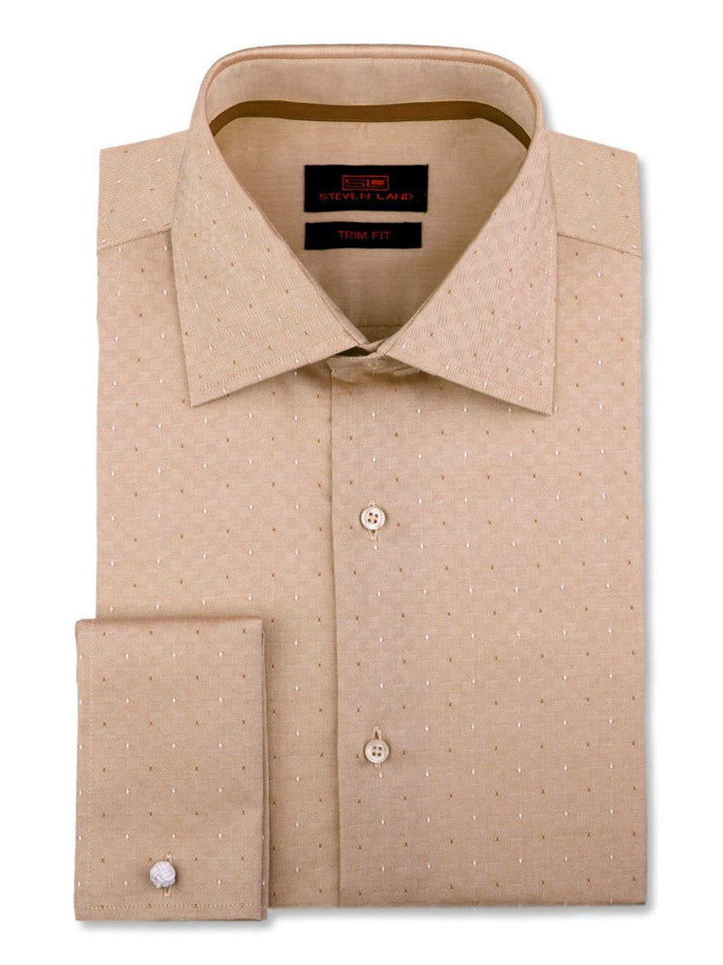 Steven Land Dress Shirt Trim Fit 100% Cotton French Cuff Spread Collar Color Tan