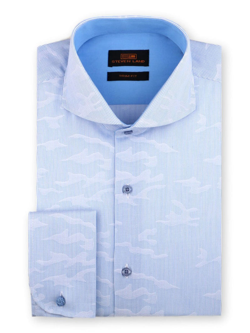 Steven Land Dress Shirt Trim Fit 100% Cotton French Cuff Cutaway Collar Color Blue