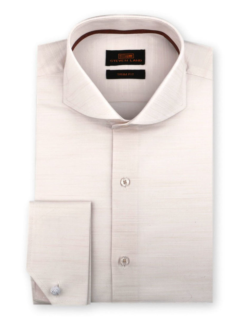 Steven Land Dress Shirt Trim Fit 100% Cotton French Cuff Cutaway Collar Color Cream