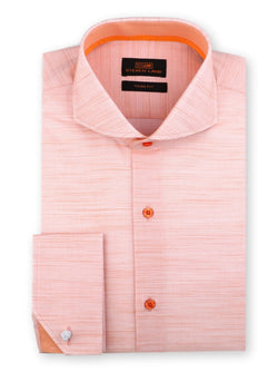 Steven Land Dress Shirt Trim Fit 100% Cotton French Cuff Cutaway Collar Color Peach