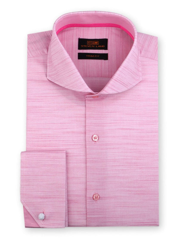 Steven Land Dress Shirt Trim Fit 100% Cotton French Cuff Cutaway Collar Color Pink