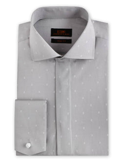 Steven Land Dress Shirt Trim Fit 100% Cotton Wide Collar Novelty Cuff Color Silver