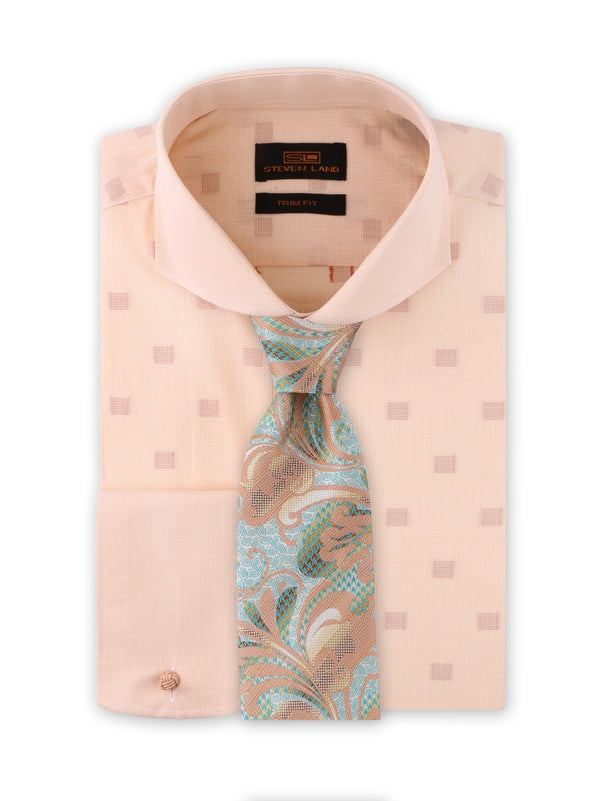 Peach Cream Shadow Blocks Dress Shirt  | Trim Fit | 100% Cotton | Cutaway Collar | TA1915