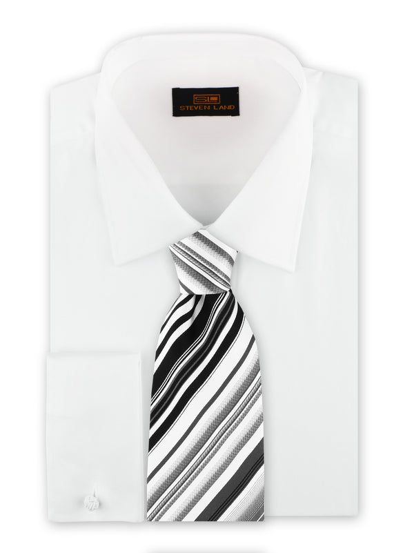 Steven Land | Sharp Pleat Tuxedo Dress Shirt | White | TA2043