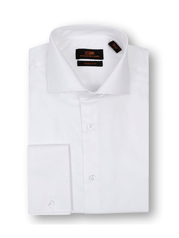 40% OFF | Steven Land Sateen Solid Dress Shirt | TA214 |100% Cotton