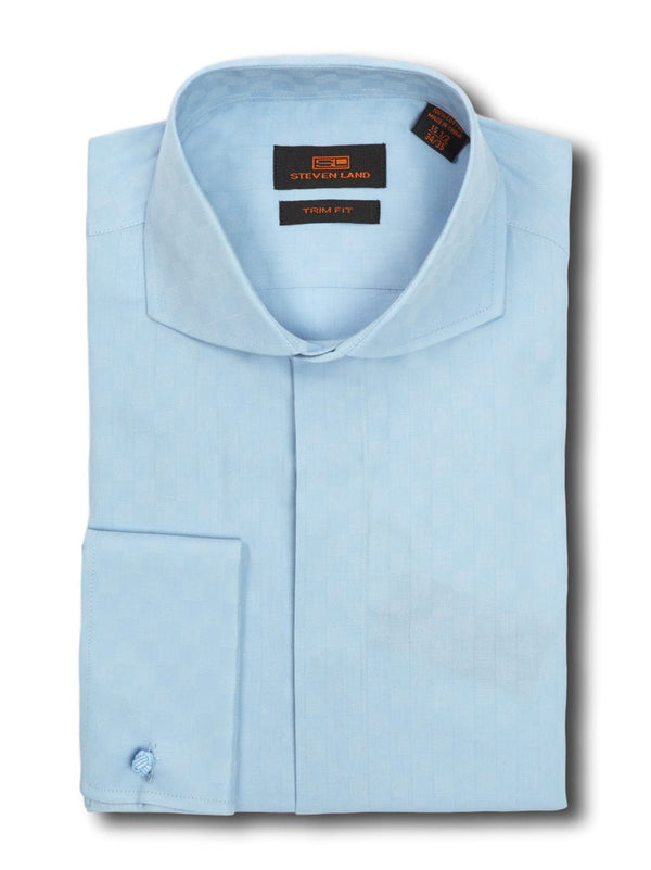Tonal Checkerboard Dress Shirt | Light Blue | TA633