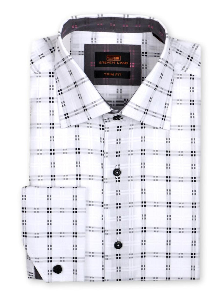 Steven Land Dress Shirt Trim Fit 100% Cotton Windowpane woven Spread Collar  Angle Cuff  Color White Black