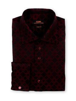 Steven Land Dress Shirt Trim Fit 100% Cotton Diamond Woven Spread Collar Novelty cuff Color Burgundy
