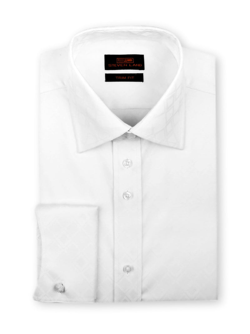 Steven Land Dress Shirt Trim Fit 100% Cotton Diamond Woven Spread Collar Novelty cuff Color White