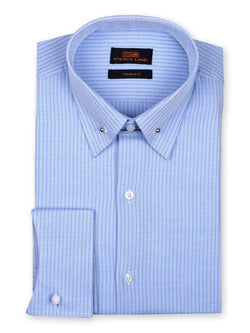 Steven Land Dress Shirt 100% Cotton Trim Fit Collar with bar French Cuff Color Blue