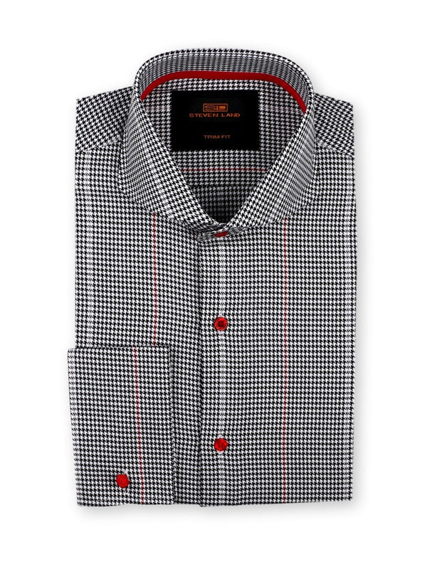 Steven Land Dress Shirt Trim Fit 100% Cotton Woven Pattern Cutaway collar Square Cuff Color Black