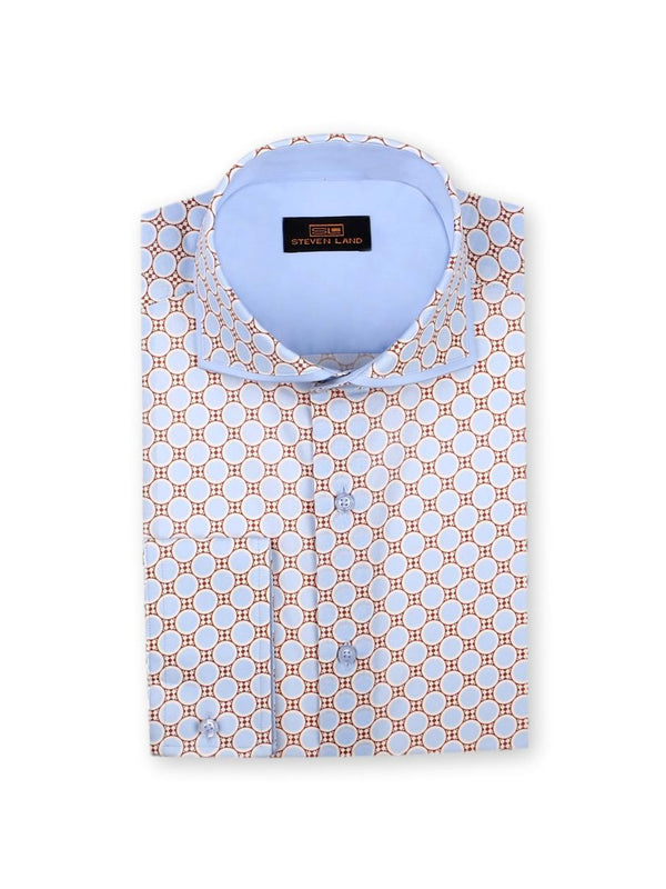 55% OFF | Dress Shirt | TA757 | Trim Fit | 100% Cotton | Spread Collar | Convertible Cuff | Blue