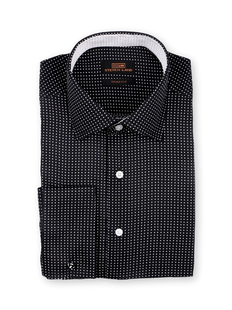 Steven Land Dress Shirt Trim Fit 100% Cotton Dot Pattern Spread Collar Square Cuff Color Black White