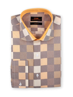 Steven Land Dress Shirt Trim Fit 100% Cotton Cutaway Collar Convertible Cuffs Color Brown