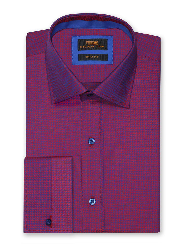 Steven Land Dress Shirt 100% Cotton Trim Fit Woven Fabric Placket Front Color Magenta