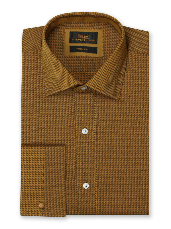Steven Land Dress Shirt 100% Cotton Trim Fit Woven Fabric Placket Front Color Rust