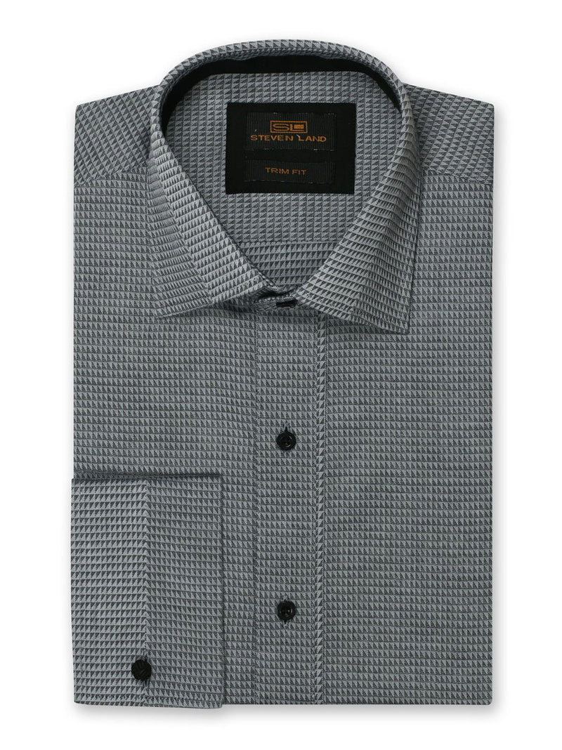 Steven Land Dress Shirt 100% Cotton Trim Fit Woven Fabric Placket Front Color Silver