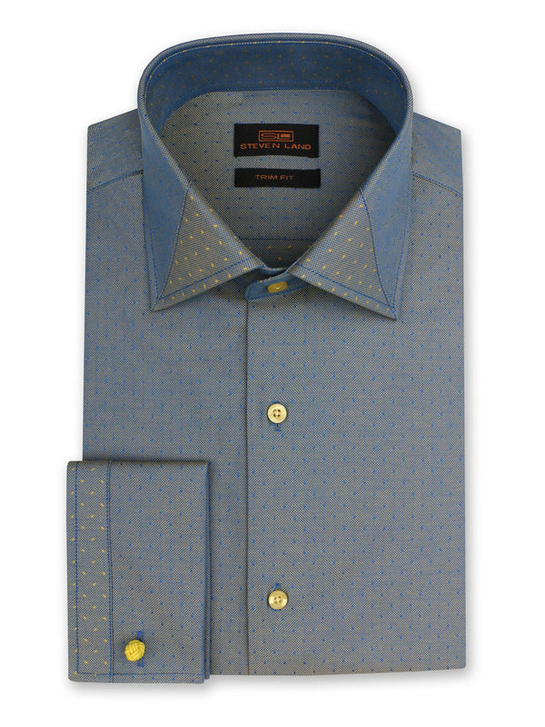 Steven Land Dress Shirt Trim Fit 100% Cotton Spread Collar Plain Front Color Blue