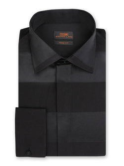Steven Land Dress Shirt Trim Fit 100% Cotton French Cuff Spread Collar Color Black