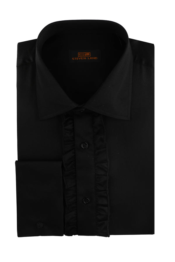 Steven Land | Celebrity Ruffle Tuxedo Dress Shirt | Color Black