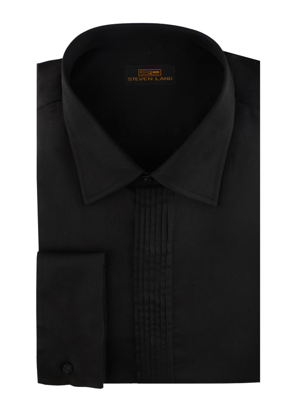 Steven Land | Sharp Pleat Tuxedo Dress Shirt | Color Black