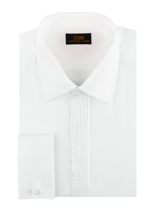 25% OFF | Steven Land | Sharp Pleat Tuxedo Dress Shirt | Color White