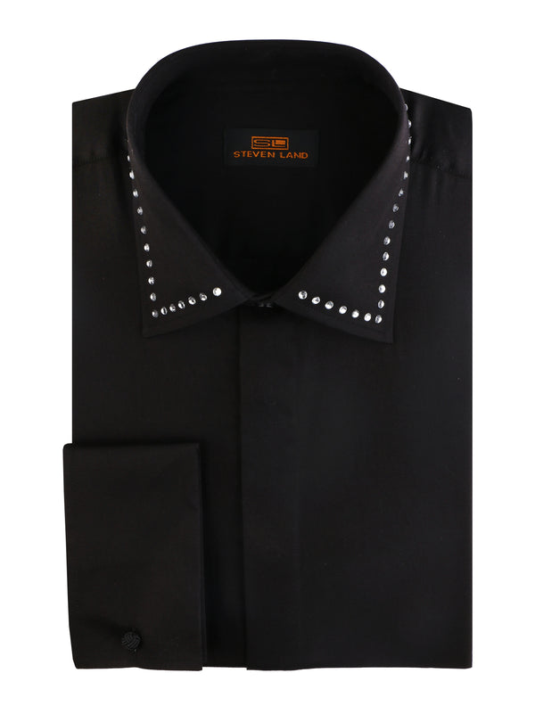 25% OFF | Steven Land | Crystal Collar Dress Shirt | Color Black