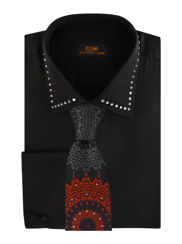Steven Land Crystal Collar Dress Shirt Color Black