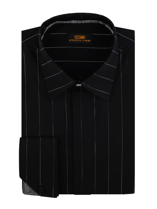 Steven Land | Cotton Lurex Stripe Dress Shirt | Color Black