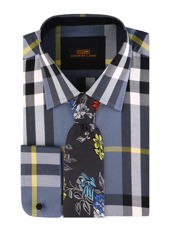 Steven Land | Plaid Dress Shirt | Color Gun Metal