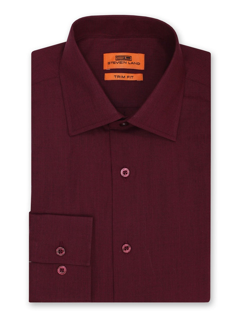 Steven Land Dress Shirt Trim Fit Cotton Blend Spread Collar Barrel Button Cuff Color Burgundy