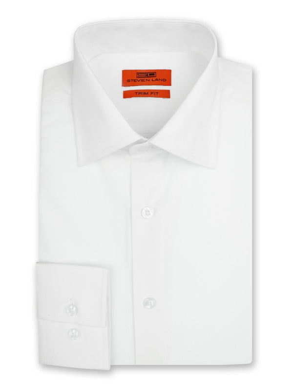 Steven Land Dress Shirt Trim Fit Cotton Blend Spread Collar Barrel Button Cuff Color White