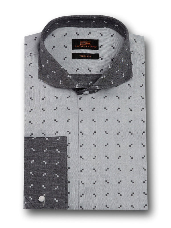 Dress Shirt | TW1714 | Classic Fit | 100% Cotton | Wide Spread Collar | Angled French Cuff | Black