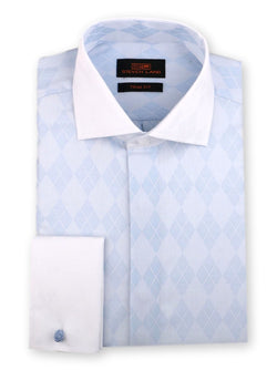 Steven Land Dress Shirt Trim Fit 100% Cotton French Cuff Wide Spread Collar Fly Front Color Blue